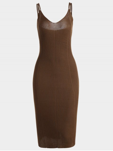 Cami Robe Bodycon en Tricot Simple - Brun TAILLE MOYENNE Mobile
