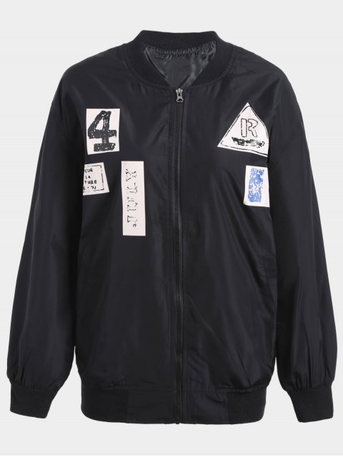 best Plus Size Graphic Bomber Jacket - BLACK 3XL Mobile