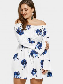 فستان بلا اكتاف طباعة الأزهار مشد الحجم الكبير - أبيض Xl