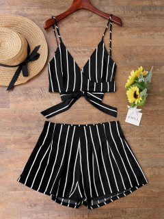 Striped Cami Wrap Top With Shorts - Black M