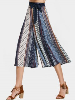 Printed Bohemian Belted Wide Leg Pants - Multi L
