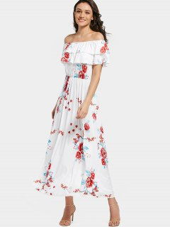 Off Shoulder Tiered Flounce Floral Maxi Dress - White 2xl