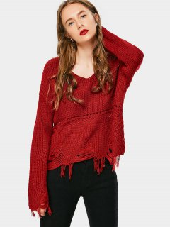 Ripped Tassels V Neck Sweater - Red
