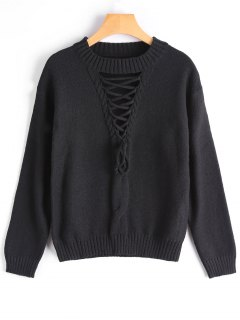 Crew Neck Lace-up Sweater - Black