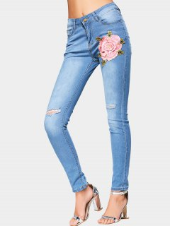 Flower Patched High Waist Ripped Jeans - Light Blue 2xl