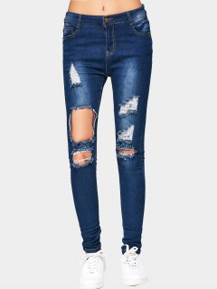 Cut Out Ripped Jeans - Deep Blue L