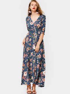 Front Slit Floral Button Up Maxi Dress - Blue Xl