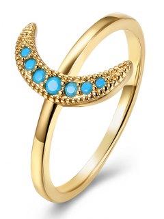 Faux Gem Circle Moon Finger Ring - Golden 9
