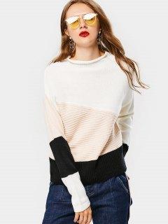Color Block Mock Neck Sweater - Black