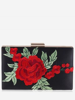 Floral Embroidery Clutch Bag - Black
