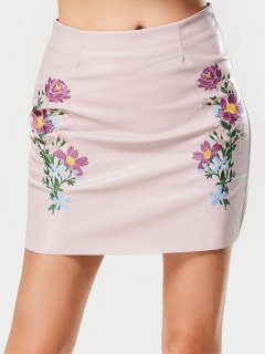 Faux Leather Floral Embroidered A Line Skirt - Pink S