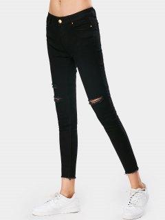 Stretchy Skinny Destroyed Pencil Jeans - Black L