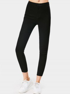 High Waisted Ninth Skinny Stretchy Jeans - Black M