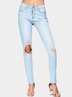 Cut Out High Waist Ripped Jeans - Light Blue M