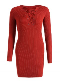 Fitted Lace Up Jumper Dress - Jacinth