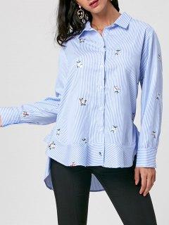 Striped Embroidery High Low Hem Shirt - Blue Stripe M