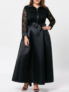 Plus Size Lace Trim Swing Maxi Dress - Black 5xl