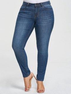 Plus Size Five Pockets Pencil Jeans - Denim Blue 3xl