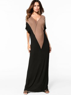 Two Tone Maxi Dress - Black Xl