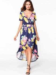 Floral Low Cut High Low Hem Dress - Purplish Blue S