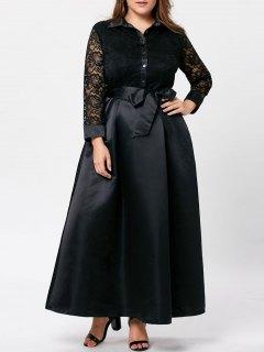 Plus Size Lace Trim Swing Maxi Dress - Black 2xl