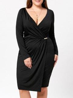 Plus Size Long Sleeve Plunging Dress - Black 2xl