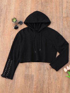 Cropped Lace Up Sleeve Sporty Hoodie - Black S