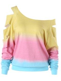 Ripped Sleeve Ombre Sweatshirt - Yellow 2xl