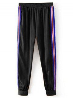 Sporty Striped Jogger Pants - Black S