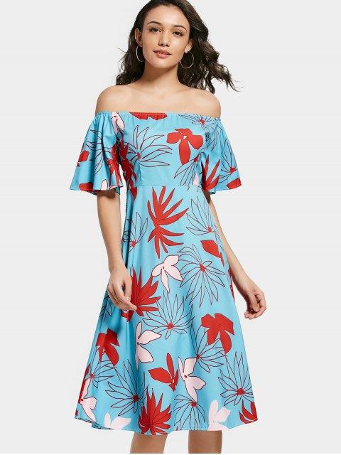Robe évasée à imprimé floral épaule - Floral M Mobile