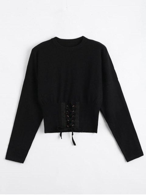 Sweater Lacé Tissé Court - Noir TAILLE MOYENNE Mobile