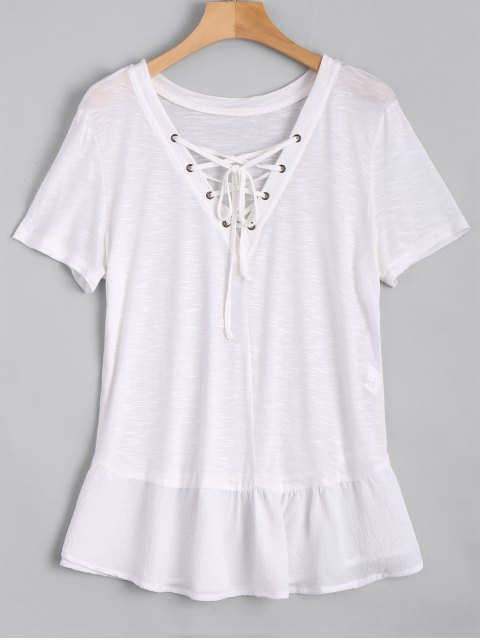 Ruffles Lace Up Casual Top - Blanc M Mobile