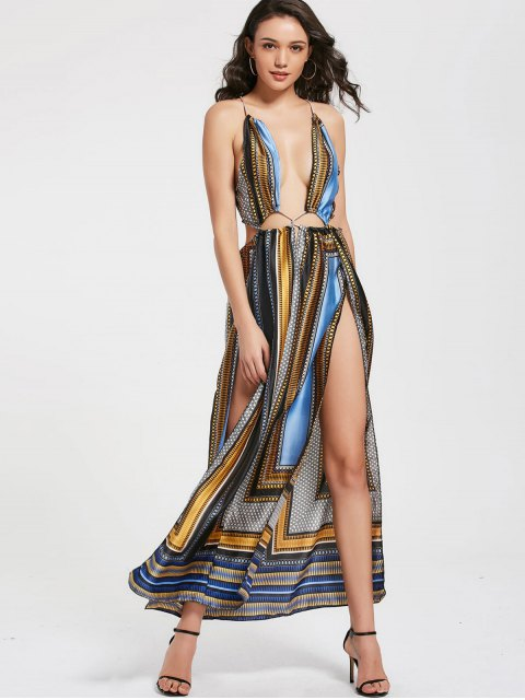 Printed Plunging Neck High Slit Maxi Club Robe - Multicolore L Mobile
