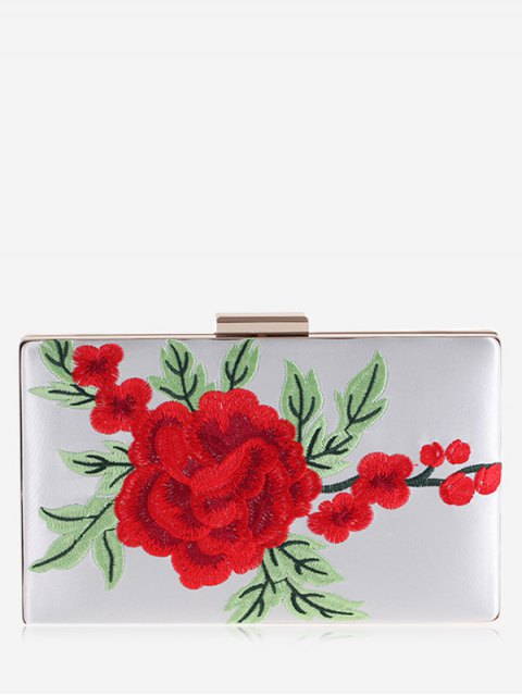 women Floral Embroidery Clutch Bag - WHITE  Mobile