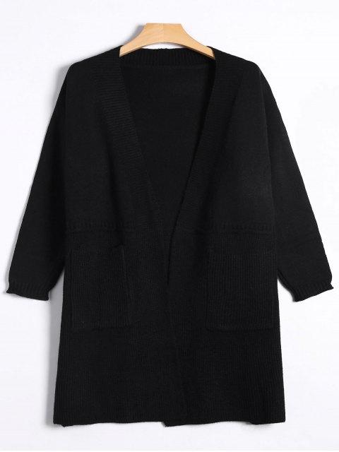Cardigan Tricoté Devant Ouvert Long - Noir TAILLE MOYENNE Mobile