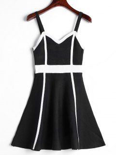 Color Block Cami Knitted Dress - Black