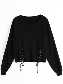Loose Drop Shoulder Lace Up Sweater - Black