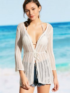 Crochet Self Tie Kimono Cover Up - White