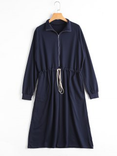 Drawstring Half Zipper Long Sleeve Dress - Deep Blue