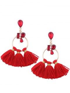 Artificial Crystal Teardrop Hoop Tassel Earrings - Red