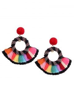 Ethnic Rainbow Tassel Fuzzy Pompon Earrings