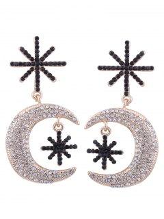 Alloy Rhinestone Star Moon Drop Earrings - Golden