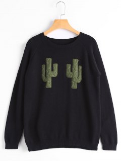 Cactus Graphic Crew Neck Sweater - Black