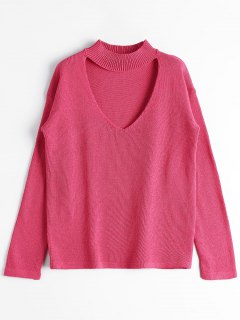 Loose High Neck Choker Sweater - Rose Red