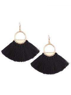 Vintage Tassel Circle Fish Hook Earrings - Black
