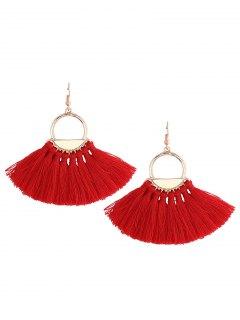 Vintage Tassel Circle Fish Hook Earrings - Red