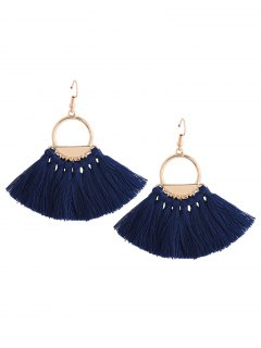 Vintage Tassel Circle Fish Hook Earrings - Blue