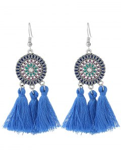 Bohemian Floral Round Tassel Hook Earrings - Blue