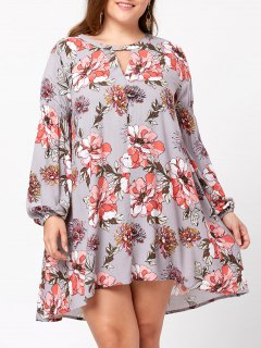 Plus Size Floral Lantern Sleeve Trapeze Dress - 5xl