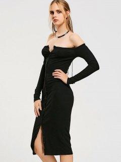Button Up Off Shoulder Bodycon Dress - Black S